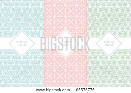 Set of packaging design templates with seamless patterns and frames. Suitable for cosmetics beauty products business card backgrounds with classic pattern. Design in trendy minimal linear style