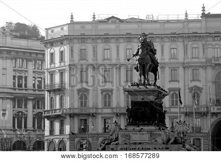 Equestrian Statue Dedicated To The King Of Italy Vittorio Emanue