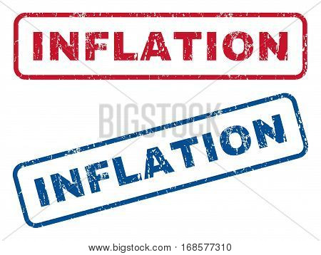 Inflation text rubber seal stamp watermarks. Vector style is blue and red ink caption inside rounded rectangular banner. Grunge design and unclean texture. Blue and red emblems.