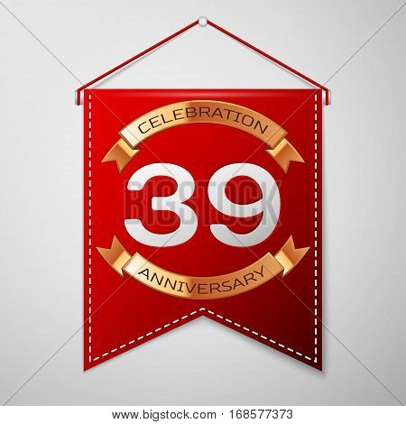 Red pennant with inscription Thirty nine Years Anniversary Celebration Design over a grey background. Golden ribbon. Colorful template elements for your birthday party. Vector illustration
