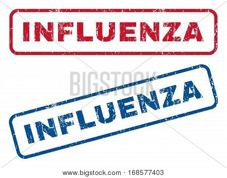 Influenza text rubber seal stamp watermarks. Vector style is blue and red ink tag inside rounded rectangular shape. Grunge design and dirty texture. Blue and red stickers.