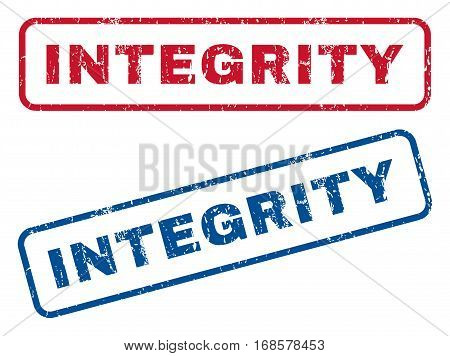 Integrity text rubber seal stamp watermarks. Vector style is blue and red ink caption inside rounded rectangular shape. Grunge design and dirty texture. Blue and red stickers.