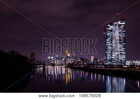 European Central bank and skyline in Frankfurt am Main at night