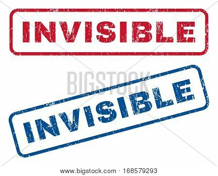 Invisible text rubber seal stamp watermarks. Vector style is blue and red ink caption inside rounded rectangular shape. Grunge design and scratched texture. Blue and red emblems.