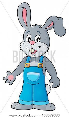 Happy bunny in overalls - eps10 vector illustration.