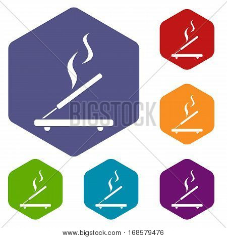 Incense sticks icons set rhombus in different colors isolated on white background