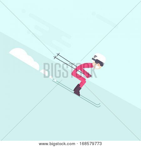 Skier skiing downhill. Flat simple character