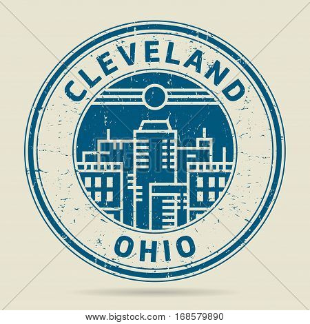 Grunge rubber stamp or label with text Cleveland Ohio written inside vector illustration