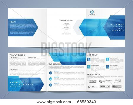 Three Fold Business Brochure Set with Front, Inner or Back Pages Presentation.