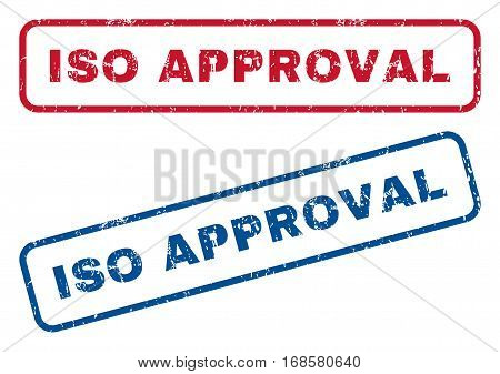 ISO Approval text rubber seal stamp watermarks. Vector style is blue and red ink tag inside rounded rectangular shape. Grunge design and scratched texture. Blue and red signs.