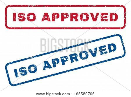 ISO Approved text rubber seal stamp watermarks. Vector style is blue and red ink tag inside rounded rectangular banner. Grunge design and scratched texture. Blue and red signs.
