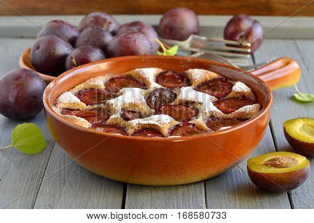 Cottage cheese pie with plum sprinkled with powdered sugar