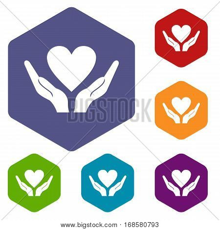 Hands holding heart icons set rhombus in different colors isolated on white background
