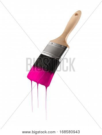 Paintbrush loaded with pink color dripping off the bristles. Isolated on white background.