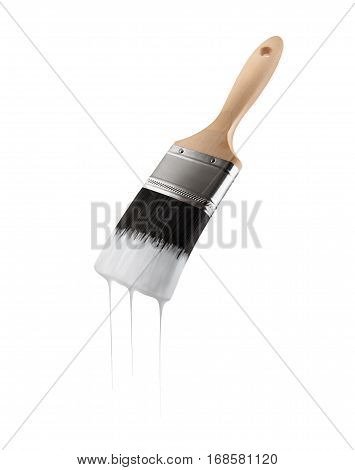 Paintbrush loaded with white color dripping off the bristles. Isolated on white background.