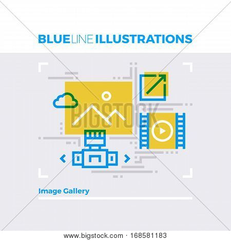 Image Gallery Blue Line Illustration.