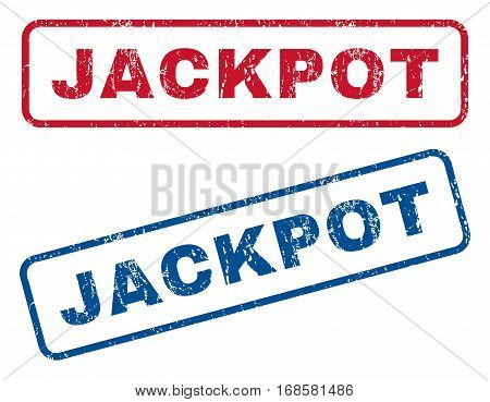 Jackpot text rubber seal stamp watermarks. Vector style is blue and red ink tag inside rounded rectangular shape. Grunge design and dust texture. Blue and red emblems.