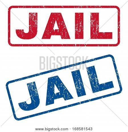 Jail text rubber seal stamp watermarks. Vector style is blue and red ink tag inside rounded rectangular shape. Grunge design and dirty texture. Blue and red stickers.