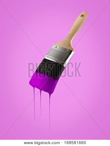 Paintbrush loaded with purple color dripping off the bristles on Purple background.