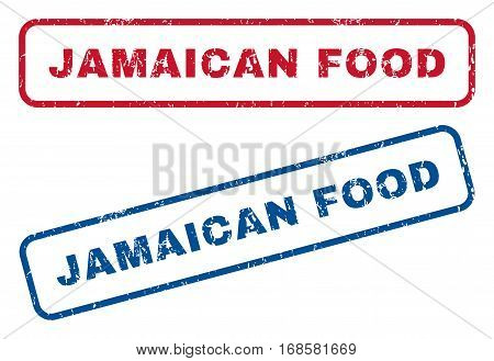 Jamaican Food text rubber seal stamp watermarks. Vector style is blue and red ink tag inside rounded rectangular banner. Grunge design and unclean texture. Blue and red emblems.