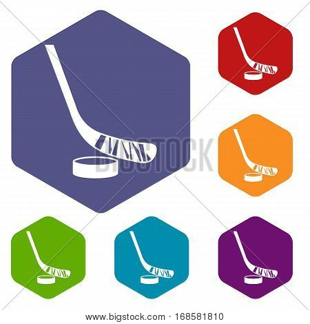Stick and puck icons set rhombus in different colors isolated on white background