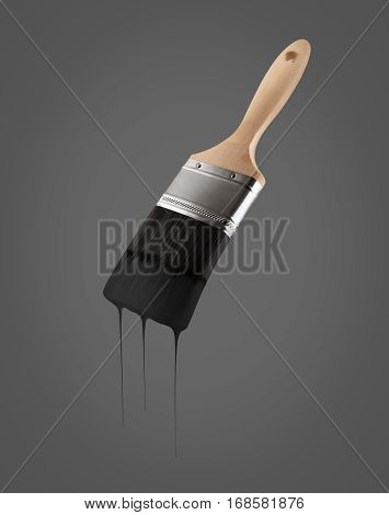 Paintbrush loaded with black color dripping off the bristles on black background.