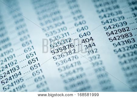 Financial Data Concept with Numbers, Spreadsheet Bank Accounts Accounting, Financial Fraud Investigation, Audit and Analysis, Balance Sheet, Numbers Background, Stock Market Quotes, Matrix Numbers poster