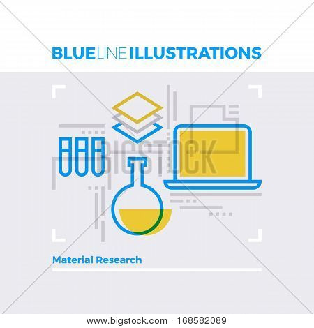 Material Research Blue Line Illustration.