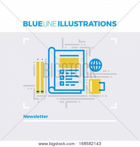 Newsletter Blue Line Illustration.