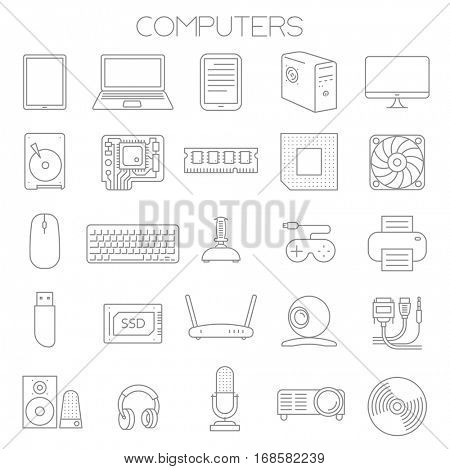 Thin line flat design computer service and parts vector icon set.