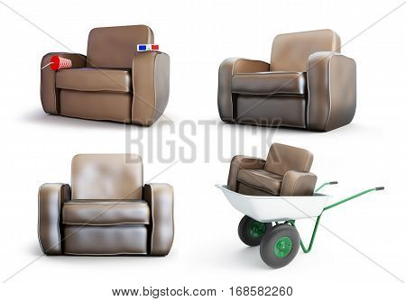 armchair set on a white background 3D illustration