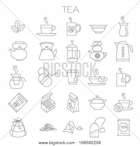 Thin line flat design tea menu vector icon set for tea shop, restaurant, sore and application menu.