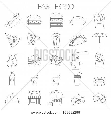 Thin line flat fast food menu design vector icon set for online order, website and app.