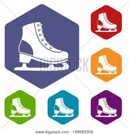 Ice skate icons set rhombus in different colors isolated on white background
