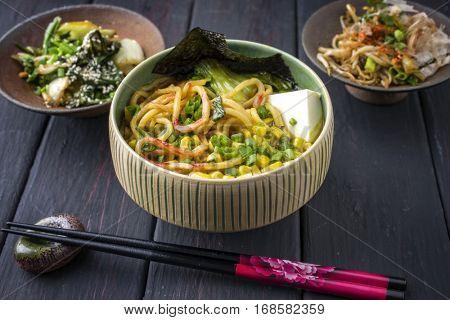 Vegetarian Ramen Soup in Bowl