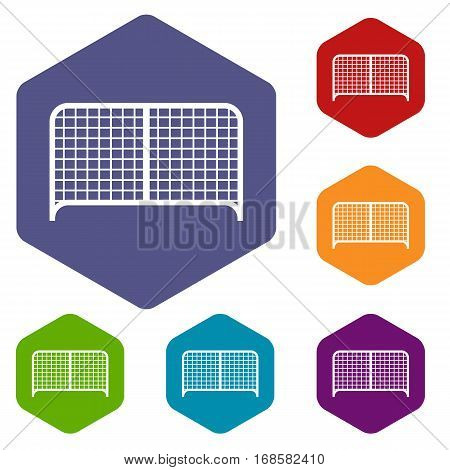 Gate icons set rhombus in different colors isolated on white background
