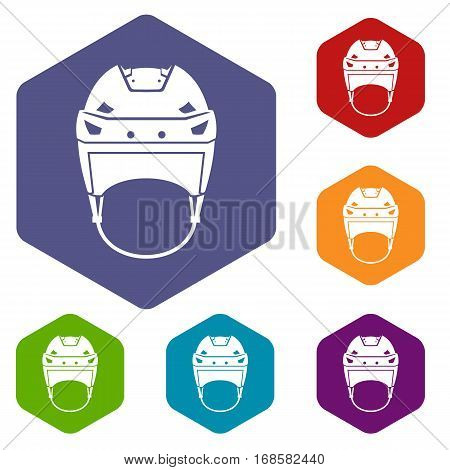 Hockey helmet icons set rhombus in different colors isolated on white background