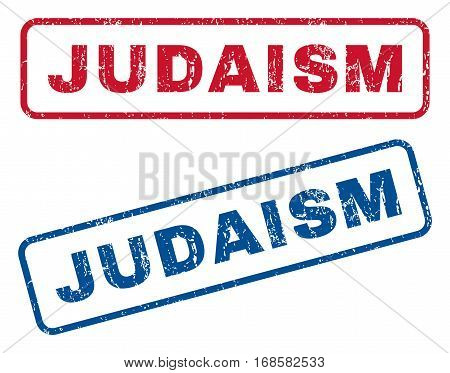 Judaism text rubber seal stamp watermarks. Vector style is blue and red ink caption inside rounded rectangular banner. Grunge design and dirty texture. Blue and red stickers.