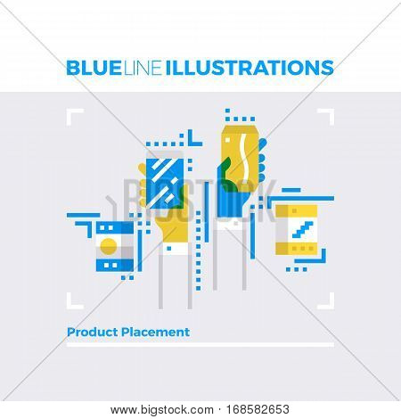 Product Placement Blue Line Illustration.