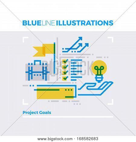 Project Goals Blue Line Illustration.