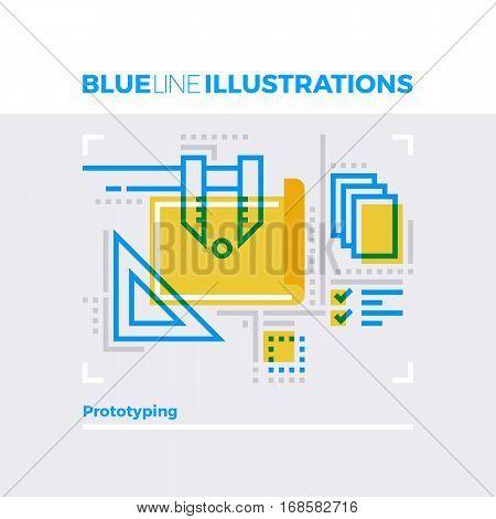 Prototyping Blue Line Illustration.