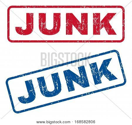 Junk text rubber seal stamp watermarks. Vector style is blue and red ink tag inside rounded rectangular banner. Grunge design and scratched texture. Blue and red stickers.