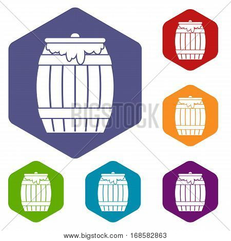 Honey keg icons set rhombus in different colors isolated on white background