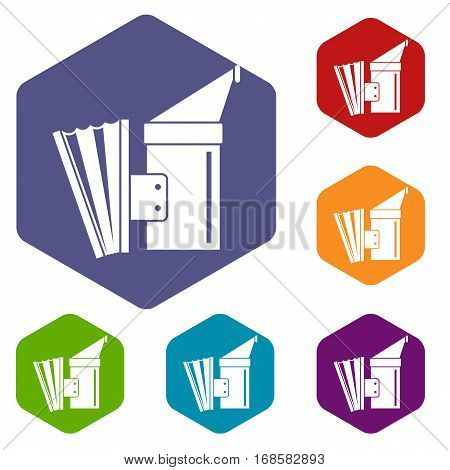 Fumigation icons set rhombus in different colors isolated on white background