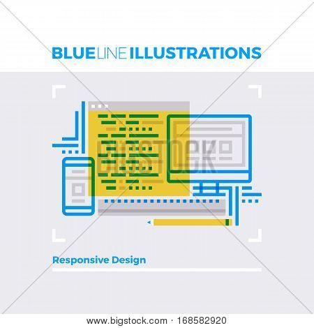 Responsive Design Blue Line Illustration.