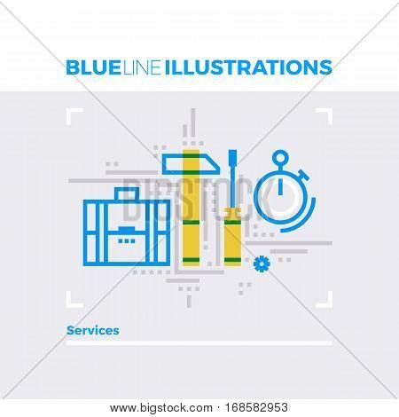 Services Blue Line Illustration.
