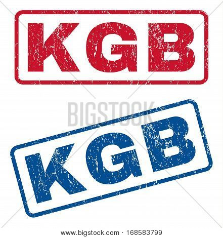 KGB text rubber seal stamp watermarks. Vector style is blue and red ink caption inside rounded rectangular shape. Grunge design and scratched texture. Blue and red emblems.