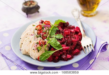 Diet Food. Chicken Breast With A Garnish Of Boiled Beets And White Beans. Healthy Lifestyle. Sports