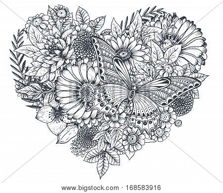 Floral heart. Bouquet composition with hand drawn flowers, plants and butterfly. Monochrome vector romantic love illustration in sketch style. Valentine Day card