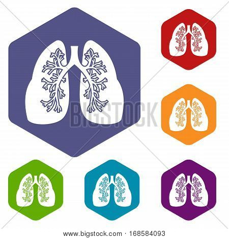 Lungs icons set rhombus in different colors isolated on white background